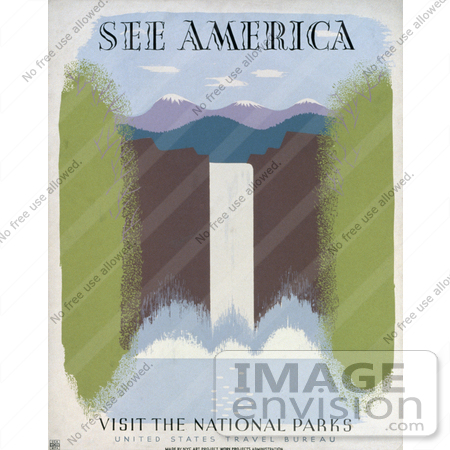 #27997 Tall Waterfall Near Snow Capped Mountains Travel Stock Illustration by JVPD