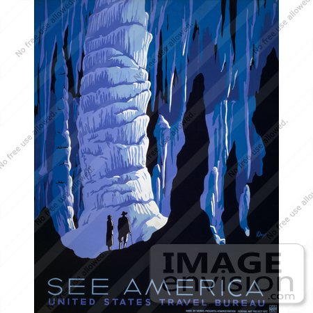 #27999 A Couple, A Man And A Woman, Silhouetted While Looking In Awe At Stunning Formations Inside Caves Travel Stock Illustration by JVPD
