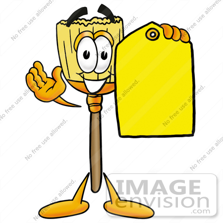 #28002 Clip Art Graphic of a Straw Broom Cartoon Character Holding a Yellow Sales Price Tag by toons4biz