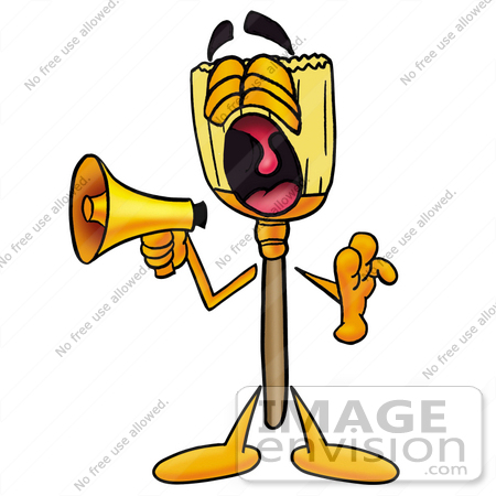 #28006 Clip Art Graphic of a Straw Broom Cartoon Character Screaming Into a Megaphone by toons4biz
