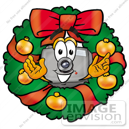 #28014 Clip Art Graphic of a Flash Camera Cartoon Character in the Center of a Christmas Wreath by toons4biz