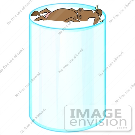 #28023 Clip Art Illustration of a Brown Dairy Cow With Udders, Floating on its Back in a Tall Glass Filled With Milk by DJArt