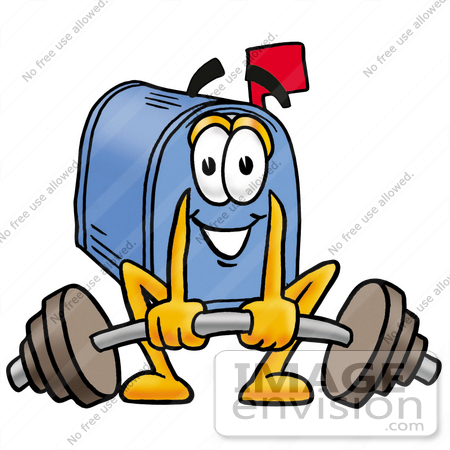 #28024 Clip Art Graphic of a Blue Snail Mailbox Cartoon Character Lifting a Heavy Barbell by toons4biz