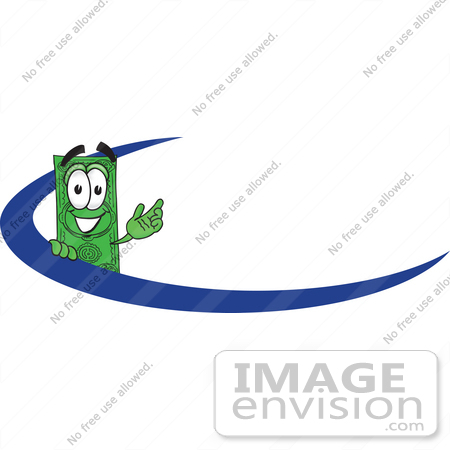 #28035 Clip Art Graphic of a Flat Green Dollar Bill Cartoon Character Waving While Standing Behind a Blue Dash on a Logo or Employee Nametag by toons4biz