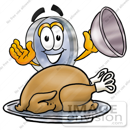 #28039 Clip Art Graphic of a Blue Handled Magnifying Glass Cartoon Character Serving a Thanksgiving Turkey on a Platter by toons4biz