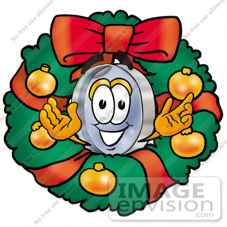 #28040 Clip Art Graphic of a Blue Handled Magnifying Glass Cartoon Character in the Center of a Christmas Wreath by toons4biz