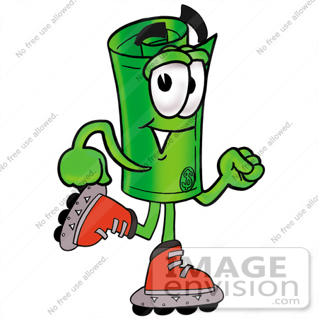 #28048 Clip Art Graphic of a Rolled Greenback Dollar Bill Banknote Cartoon Character Roller Blading on Inline Skates by toons4biz