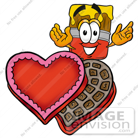 #28056 Clip Art Graphic of a Red Paintbrush With Yellow Paint Cartoon Character With an Open Box of Valentines Day Chocolate Candies by toons4biz