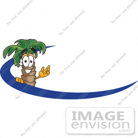 #28075 Clip Art Graphic of a Tropical Palm Tree Cartoon Character Waving Behind a Blue Dash on an Employee Nametag or Logo by toons4biz