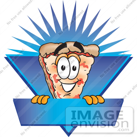 #28085 Clip Art Graphic of a Cheese Pizza Slice Cartoon Character on a Blue Label Logo With a Burst by toons4biz