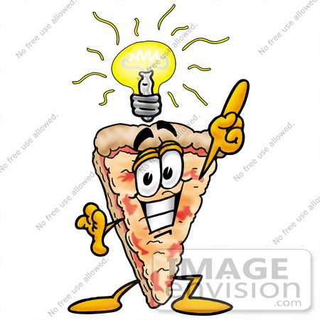 Clip Art Graphic of a Cheese Pizza Slice Cartoon Character With a ...