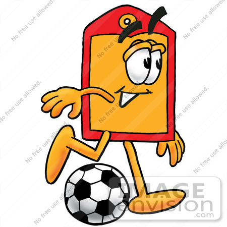 #28112 Clip Art Graphic of a Red and Yellow Sales Price Tag Cartoon Character Kicking a Soccer Ball by toons4biz