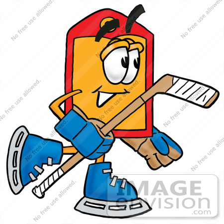 #28114 Clip Art Graphic of a Red and Yellow Sales Price Tag Cartoon Character Playing Ice Hockey by toons4biz