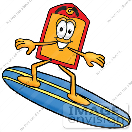#28115 Clip Art Graphic of a Red and Yellow Sales Price Tag Cartoon Character Surfing on a Blue and Yellow Surfboard by toons4biz
