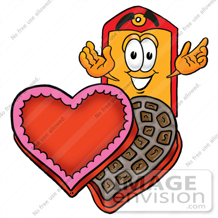 #28120 Clip Art Graphic of a Red and Yellow Sales Price Tag Cartoon Character With an Open Box of Valentines Day Chocolate Candies by toons4biz