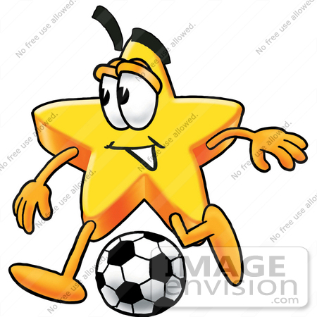 #28136 Clip Art Graphic of a Yellow Star Cartoon Character Kicking a Soccer Ball During a Game by toons4biz