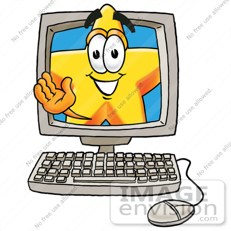 #28146 Clip Art Graphic of a Yellow Star Cartoon Character Waving From Inside a Computer Screen by toons4biz
