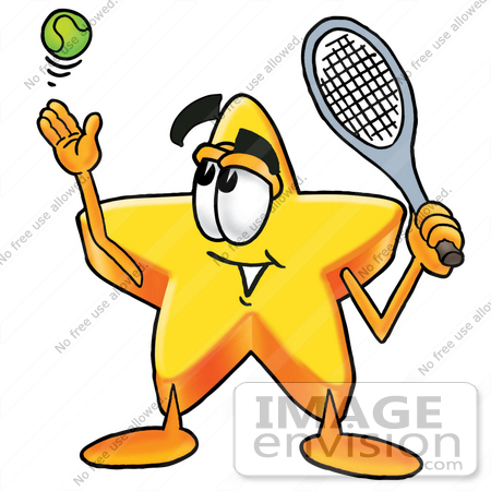 #28164 Clip Art Graphic of a Yellow Star Cartoon Character Preparing to Hit a Tennis Ball by toons4biz