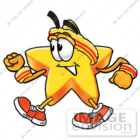 #28171 Clip Art Graphic of a Yellow Star Cartoon Character Speed Walking or Jogging by toons4biz