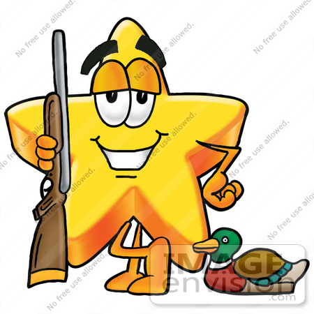 #28180 Clip Art Graphic of a Yellow Star Cartoon Character Duck Hunting, Standing With a Rifle and Duck by toons4biz