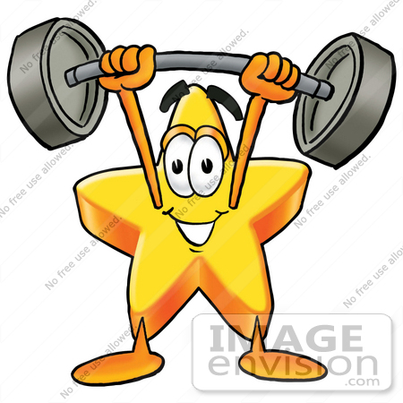 clip art graphic of a yellow star cartoon character holding a heavy rh imageenvision com Muscle Clip Art Muscle Clip Art