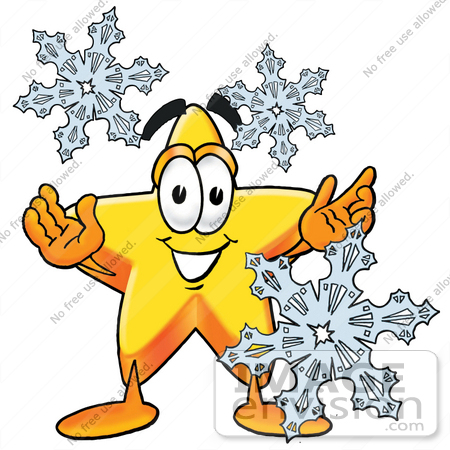#28192 Clip Art Graphic of a Yellow Star Cartoon Character Surrounded by Falling Snowflakes in Winter by toons4biz