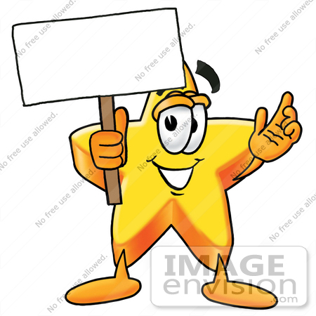 #28193 Clip Art Graphic of a Yellow Star Cartoon Character Holding a Blank Sign by toons4biz