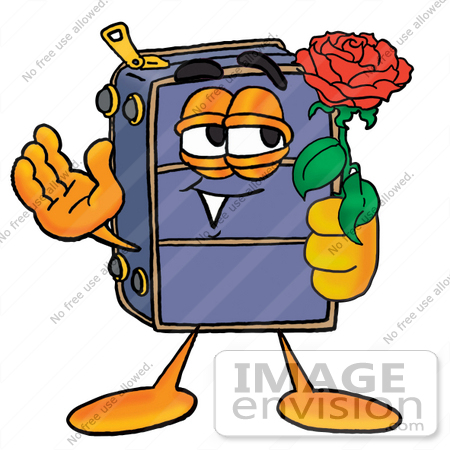 #28195 Clip Art Graphic of a Suitcase Luggage Cartoon Character Holding a Red Rose on Valentines Day by toons4biz