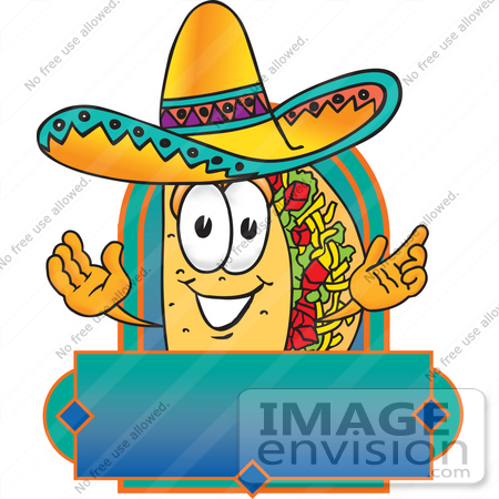 #28202 Clip Art Graphic of a Crunchy Hard Taco Character Wearing a Sombrero on a Blank Label by toons4biz