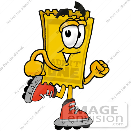 #28209 Clip Art Graphic of a Golden Admission Ticket Character Roller Blading on Inline Skates by toons4biz
