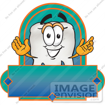 #28215 Clip Art Graphic of a Human Molar Tooth Character Over a Blank Label by toons4biz