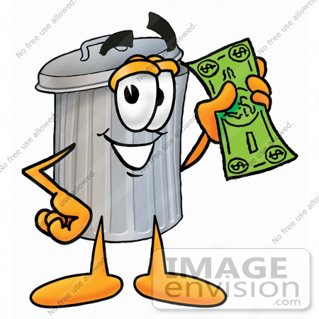 #28225 Clip Art Graphic of a Metal Trash Can Cartoon Character Holding a Dollar Bill by toons4biz