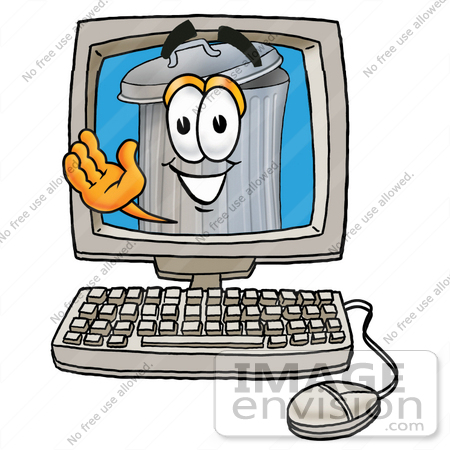 #28228 Clip Art Graphic of a Metal Trash Can Cartoon Character Waving From Inside a Computer Screen by toons4biz