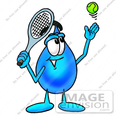 #28234 Clip Art Graphic of a Blue Waterdrop or Tear Character Preparing to Hit a Tennis Ball by toons4biz