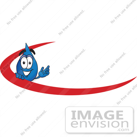 #28237 Clip Art Graphic of a Blue Waterdrop or Tear Character Waving and Standing Behind a Red Dash on an Employee Nametag or Business Logo by toons4biz