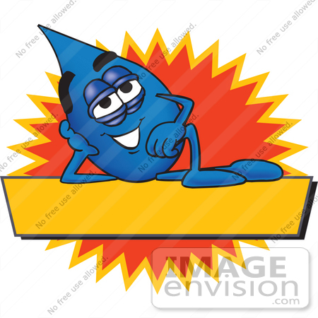 #28240 Clip Art Graphic of a Blue Waterdrop or Tear Character Reclining Over a Blank Yellow Banner in Front of a Burst on a Label by toons4biz