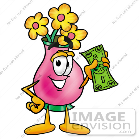#28382 Clip Art Graphic of a Pink Vase And Yellow Flowers Cartoon Character Holding a Dollar Bill by toons4biz