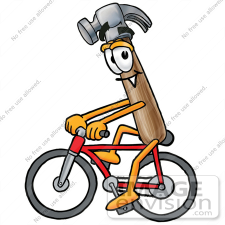 #28385 Clip Art Graphic of a Hammer Tool Cartoon Character Riding a Bicycle by toons4biz