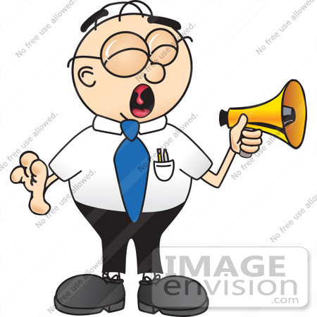 #28413 Clip Art Graphic of a Geeky Caucasian Businessman Cartoon Character Screaming Into a Megaphone by toons4biz