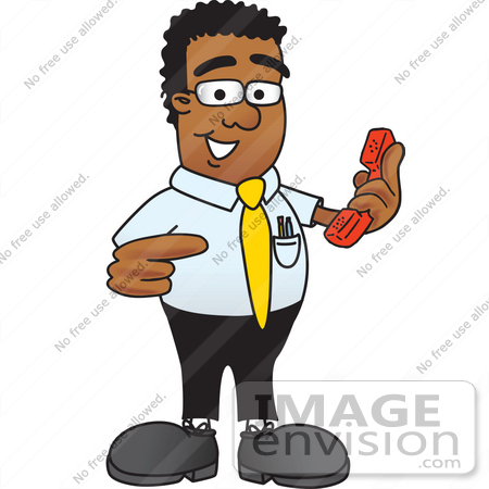 Clip Art Graphic of a Geeky African American Businessman ...