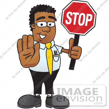 #28477 Clip Art Graphic of a Geeky African American Businessman Cartoon Character Holding a Stop Sign by toons4biz