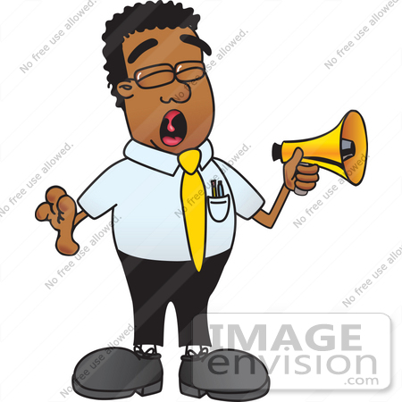#28485 Clip Art Graphic of a Geeky African American Businessman Cartoon Character Screaming Into a Megaphone by toons4biz