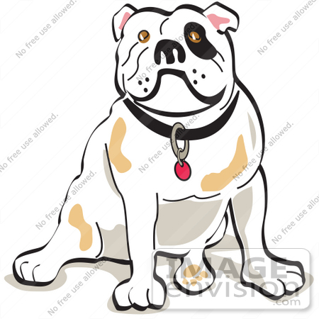 #28958 Cartoon Clip Art Graphic of a Bulldog Sitting Clipart Illustration by Andy Nortnik