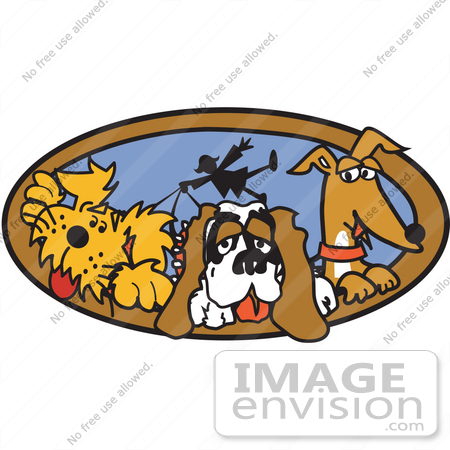 Cartoon Clip Art Graphic Of A Three Dogs Taking Their Dog Walker For A Walk 28970 By Andy Nortnik Royalty Free Stock Cliparts
