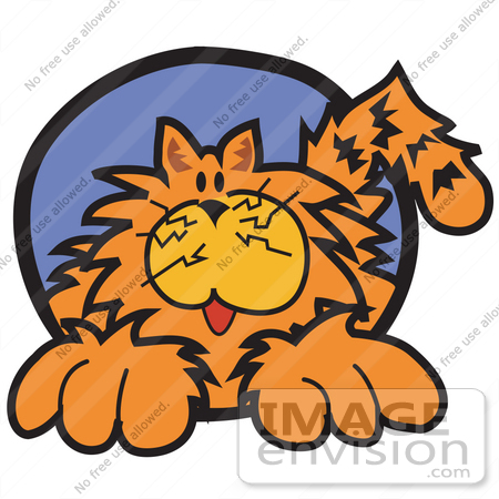 #28980 Cartoon Clip Art Graphic of a Chubby Happy Orange Cat by Andy Nortnik