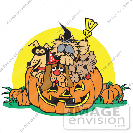 #28981 Cartoon Clip Art Graphic of a Dogs Inside a Pumpkin on Halloween by Andy Nortnik