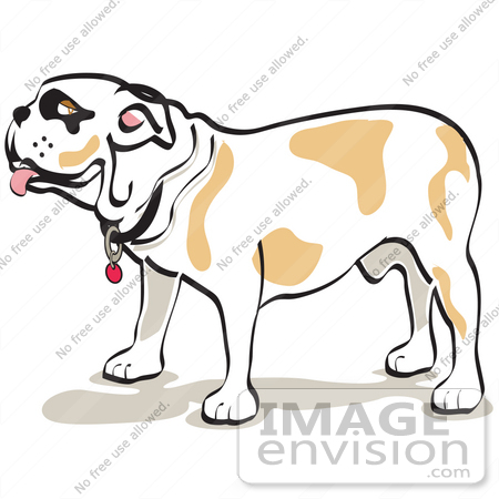 Cartoon Clip Art Graphic of a Bulldog Standing in Profile | #28982 by ...