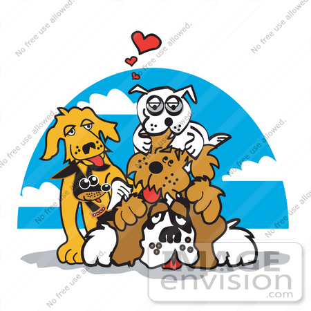 #28988 Cartoon Clip Art Graphic of a Dogs Piling on Top of a St Bernard by Andy Nortnik