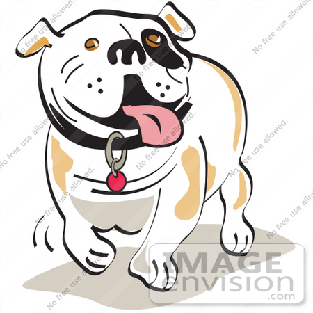 28990 Cartoon Clip Art Graphic of a Happy Bulldog Walking and Hanging ...