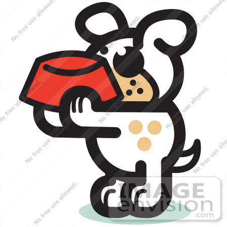 #29014 Royalty-free Cartoon Clip Art of a Hungry Dog Holding A Red Dog Bowl, Waiting To Be Fed by Andy Nortnik